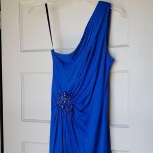 David Meister blue one shoulder cocktail dress